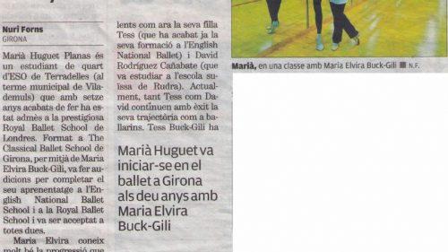Marià Huguet: 'De l'Escola de Girona al Royal Ballet de Londres' (El PUNT AVUI)
